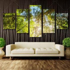 Wall Art 5 Pcs Forest Scenery Canvas Oil Painting Wall Picture Print On Canvas modern wall art pictures