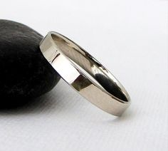 Men's Wedding Band White Gold Wedding Ring White by SilverSmack