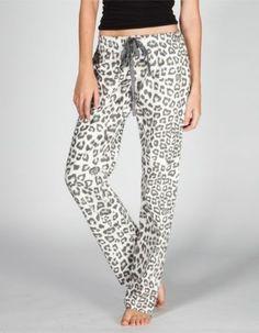 Fox Racing Cordova Pajama Lounge Pants Snow Leopard Animal Print Draw String