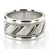 Grooved Hand Woven Wedding Band  #wedding #rings #bands