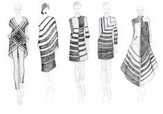 Fashion Sketchbook - striped dresses; fashion design drawings; fashion sketching // Rahul Mishra