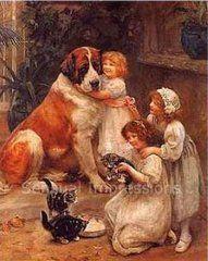 English Picture Print Saint Bernard Dog Kitten Cat Dogs Cats Vintage Poster Art