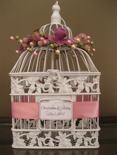 bird cage wedding card holder just have guests put cards in slots i