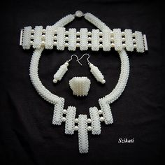 Beaded pearl necklace, seed bead jewelry, bridal jewelry, OOAK jewelry. $140.00, via Etsy.