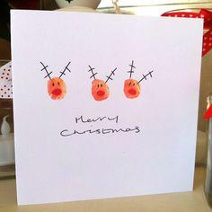 Reindeer fingerprint Christmas cards