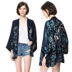 日本和風日式和服鳳凰印花和服無扣蝙蝠袖開衫寬松女士外套