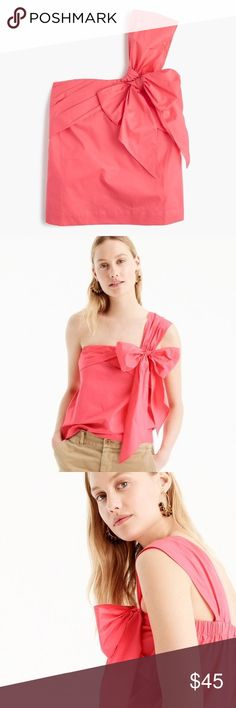 J. Crew Bow Top Small The one-shoulder silhouette + a bow = your jean's new soul mate, basically. See Chart☝ •NWT •Size: 4 = S •Color: Wildflower Pink •100% Cotton. •Machine wash. •Import. No Trades    Fast Shipping   Open to Offers    Willing to Bundle  ➵ Pet free home  ➵ Smoke free home  Always Shipped the same or next day J. Crew Tops Blouses