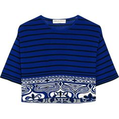 Emilio Pucci Cropped knitted top, Blue, Women's, Size: S (1.450 RON) ❤ liked on Polyvore featuring tops, crop top, emilio pucci top, striped top, blue crop top, pattern tops and stripe crop top