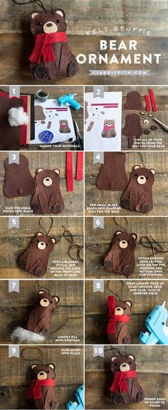 Diy deer felt christmas ornaments felting ornament and christmas take a look at these felt stuffie therere so pretty you can make them to decorate your gift boxes or to be lovely ornaments solutioingenieria Choice Image