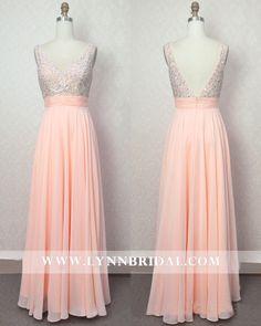 Peach Long Prom Dress with Jewel Embellishments