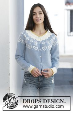 Women - Free knitting patterns and crochet patterns by DROPS Design Drops Design, Cardigan Design, Cardigan Pattern, Fair Isle Knitting, Free Knitting, Sweater Knitting Patterns, Crochet Patterns, Crochet Design, Norwegian Knitting