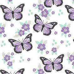 Purple Butterfly Fabric - Monarch Butterflies Spring Florals By Andrea Lauren - Purple Nursery Cotton Fabric by the Metre with Spoonflower Double Gauze Fabric, Cotton Twill Fabric, Fleece Fabric, Purple Butterfly, Monarch Butterfly, Butterfly Dress, Canvas Fabric, Cotton Canvas, Andrea Lauren