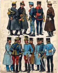 "53. NCO Trumpeter (Stabstrompeter); 54. Trumpeter, Horse Artillery; 55. Private, Hungarian Infantry Regiment No. 41; 56. Life Guard Cavalry Squadron; 57. Officer, Hussars; 58. Infantry Officer; 59. Officer, 15th Hussars; 60. Officer, Hussars; 61. Officer, 2nd Dragoons; 62. Officer, 11th Dragoons or 6th or 13th Lancers; 63.   Officer, Engineers; 64.   Lieutenant, Honved Infantry; 65.   Officer, 11th Lancers. Extract from: AE Haswell Miller & John Mollo. ""Vanished Armies."""