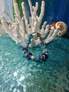 925s Murano beaded Tibetan Silver charm bracelet by Frankgilldesign on Etsy