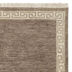 """Greek Key Border Hand Knotted Rug Swatch, 18X18"""", Hickory"""