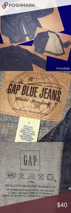 Vintage GAP Denim Jacket *Used* vintage (late 90s) GAP standard blue wash trucker denim jean jacket in a size L. Very good condition. ✨BUNDLE+SAVE✨ GAP Jackets & Coats