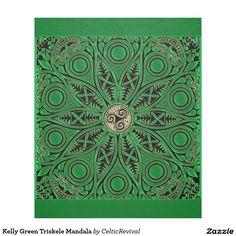 Kelly Green #Triskele #Mandala Fleece #Blanket  #zazzle