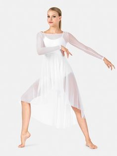 ADULT LONG SLEEVE MESH LYRICAL DRESS Possible Angel costume, will need white leotard, come in both child and adult