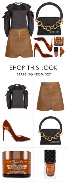 """""""Black + Almond"""" by cherieaustin ❤ liked on Polyvore featuring DKNY, Prada, Jacquemus and Gucci"""