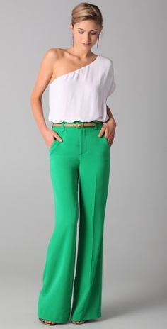 Beautiful high waisted green pant with white top. . . I NEED these pants.