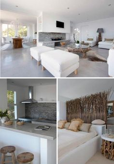 Love the white with the bleached colors, we have some French driftwood lamps, now we only need a beach house...