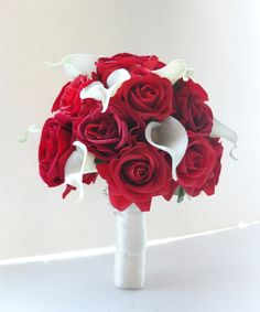 Wedding bouquet, Red Rose and White Calla Lilies Bridal bouquet