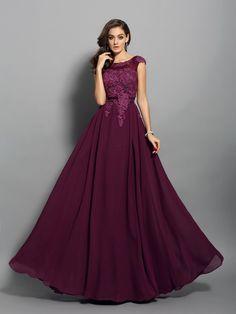 3ee78bd95942 A-Line Princess Scoop Sleeveless Chiffon Applique Floor-Length Dresses pin in  Online Shops by dylanqueen. A-Line Princess Scoop Sleeveless Chiffon  Applique ...