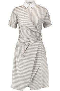 Carven Wrap-effect striped cotton dress Wrap-effect draped front partially  lined S L XL Gray Women Best Dresses Sale - Knee Length