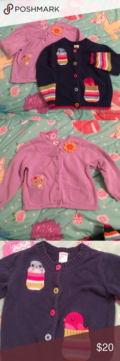 Medium blue cardigan | Orange flowers, Gymboree and Pink blue