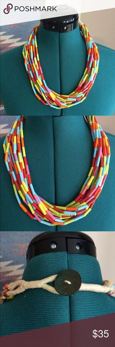 Colorful Beaded Necklace Funky fun colors to add to any monochromatic outfit. Vintage Jewelry Necklaces