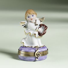 Limoges Angel with Harp Box The Cottage Shop
