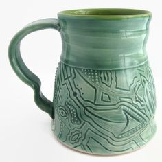 Unique Coffee Mug, Handmade Ceramic Mug, Turquoise Mug - Coffee Mug, Coffee Cup, Tea Mug Tea Cup, Unique Mug, Teal Mug,  Great Gift! by ACoupleofCranes on Etsy