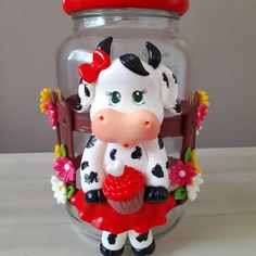 Clay Jar, Kids Clay, Polymer Clay Dolls, Pasta Flexible, Biscuits, Art Drawings, Cow, Gifts, Painting