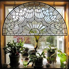 Our garden window with beveled glass window.
