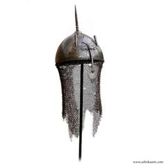Indian Khula Khud or Top helmet of chiselled steel with camail