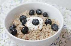 Doctor's Orders: Oatmeal topped with blueberries, a big dollop of gut-lovin' non-fat Greek yogurt, and two tablespoons of ground flaxseed. #BRMOatmeal