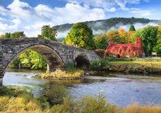 A quaint tea-room built in 1480 in the village of Llanrwst, Wales.