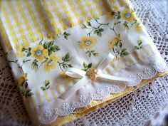 Gorgeous tea towel for the yellow and white kitchen.