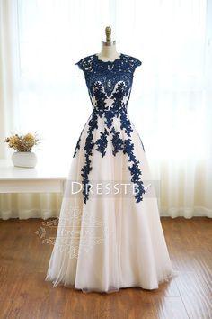 Dark blue round neck tulle lace long prom dress 603a0303e90e