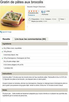 recette WW  Gratin de pâtes aux brocolis