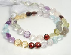 5.5 inch strand, 22 beads: Grade AA to AAA quality multi semiprecious gemstone faceted coin, center drilled, Size 6X6mm to 7X7mm by JWbeads on Etsy