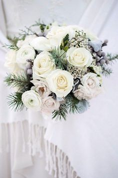 winter wedding winter wedding bouquets with white roses and spruce branches flowers by janie via Wedding Flower Guide, Flower Bouquet Wedding, Floral Wedding, Flower Bouquets, Trendy Wedding, Purple Bouquets, Bridesmaid Bouquet, Bridal Bouquets, Purple Wedding