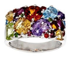 Master Cut 4.00 ct tw Multi-Gemstone Sterling Band Ring