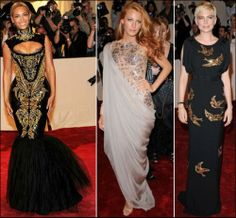Embroidered Dresses on the red carpet -Beyonce wearing Emilio Pucci , Blake Lively with Chanel and Michelle Williams in a Miu Miu gown