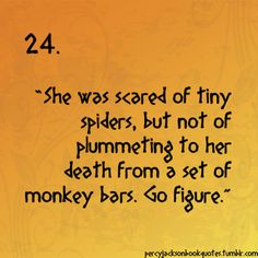 haha...except I was scared of tiny spiders, but not of plummeting to my death from 11,000 feet in the air skydiving.  ha!