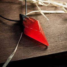 Symmetrical fire red edged pendant in modern minimalist style presented by rhombus shape and made from wood and resin. Another representation of the my point of view related to geometric jewelry. :) I hope you will like this stylish look. ▬▬ This necklace features the natural Bog