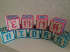 Baby Name Blocks in Plastic Canvas