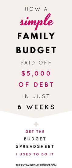 How a Simple Family Budget helped pay off 5000 of debt in just 6 weeks If youre looking to pay off debt quickly these budgeting tips will help you start a budget and lear. Budget Planner Template, Budget Spreadsheet, Family Budget Template, Simple Budget Template, Budgeting Finances, Budgeting Tips, Budget Help, Planning Budget, Financial Planning