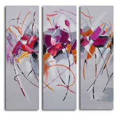 Fuschia Frolicking Flower Triptych 3-Piece Canvas Wall Art Set | from hayneedle.com