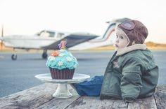 Airplane Themed Smash the Cake Session. Cute aviator/pilot and perfect backdrop. First Birthday ideas. Airplane Birthday.